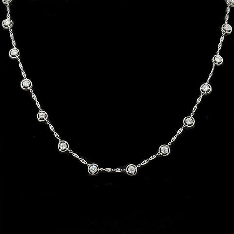 "Edwardian Platinum ""Diamonds by the Yard"" Necklace 3.77ctw"