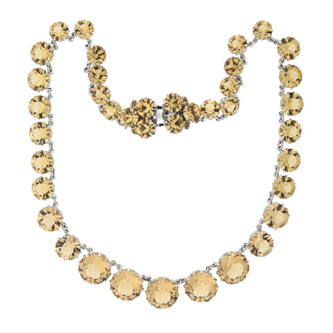 CHRISTIAN DIOR Vintage Champagne Crystal Riviera Necklace + Clip-On Earring Set