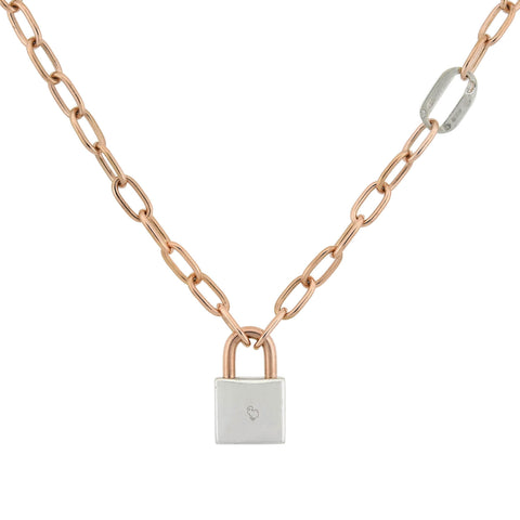 DODO Estate Mixed Metals 9kt/Sterling Padlock Pendant Necklace