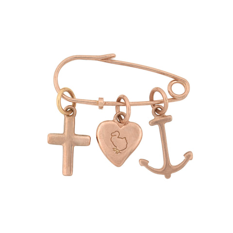 "DODO Estate 9kt Rose Gold ""Faith, Hope & Charity"" Charm Pin"