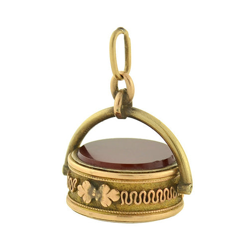 Victorian 14kt Carnelian & Banded Agate Spinner Fob Pendant