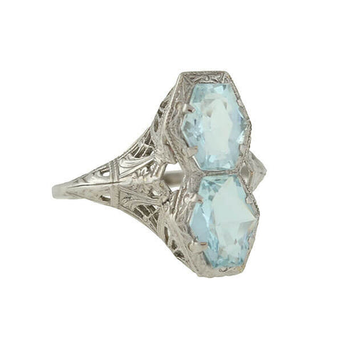 Art Deco Aquamarine 2-Stone Filigree Ring