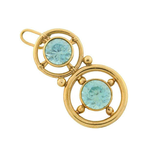 Retro 14kt Natural Blue Zircon Double Circle Pendant