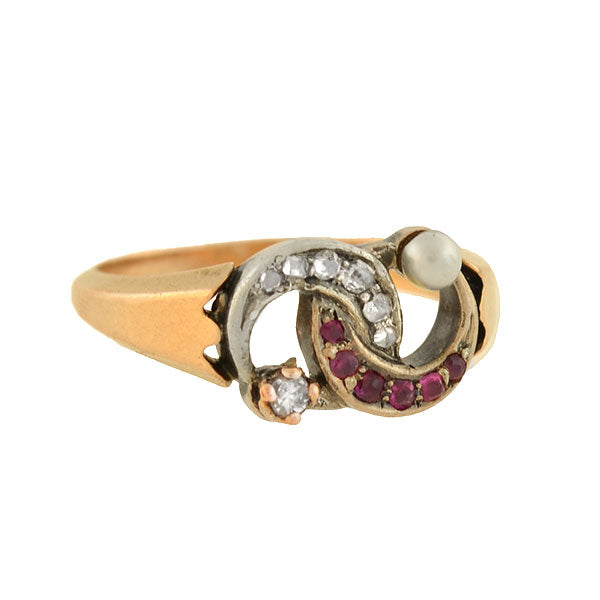 Victorian 14kt Diamond, Pearl + Ruby Double Crescent Ring