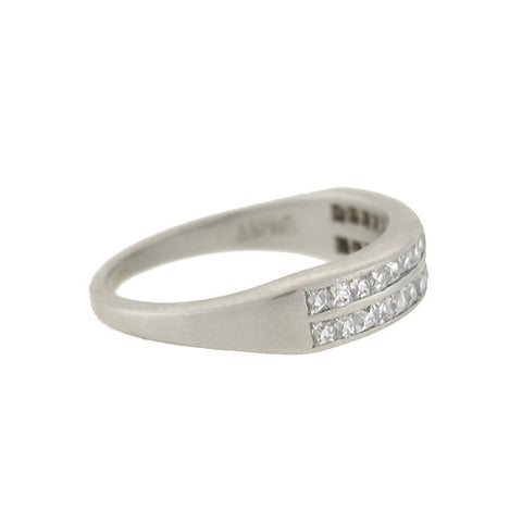Retro Platinum French Cut Diamond Double Half Band