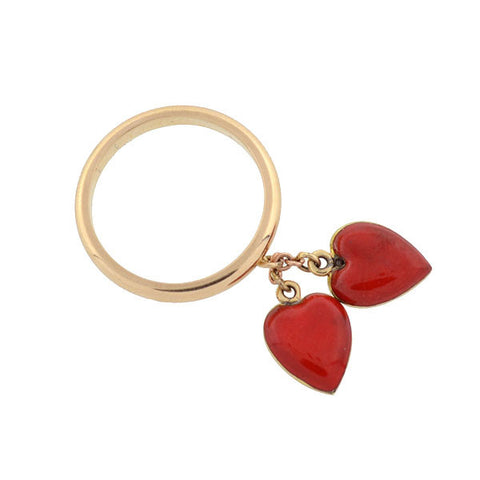 Estate 14kt Enameled Double Heart Charm Ring
