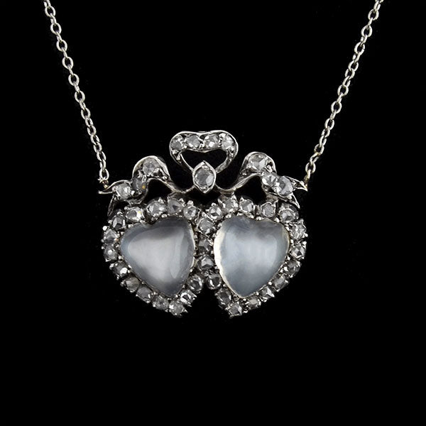 Victorian 14kt Silver Moonstone & Diamond Double Hearts Necklace