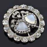 Victorian 14kt Silver Moonstone & Diamond Double Hearts Pendant