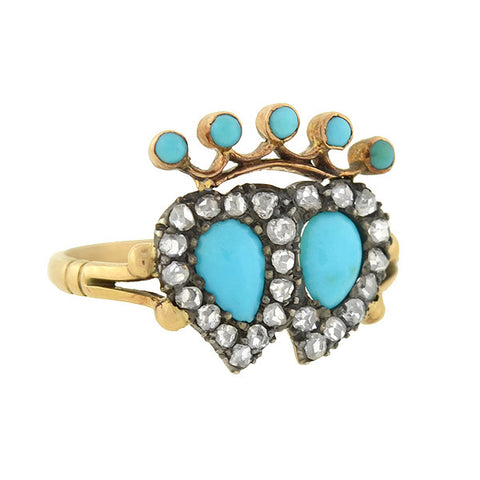 Victorian 14kt Turquoise & Diamond Double Hearts & Crown Ring