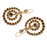 Victorian Gold-Filled Bohemian Garnet Hoop Earrings