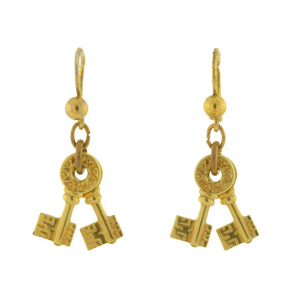 Victorian 10kt Petite Antique Double Key Earrings