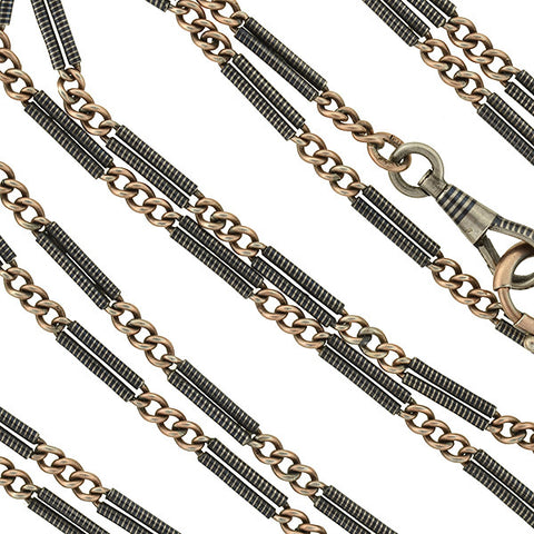 Victorian Long Niello Striped Double Bar Link Chain 56""