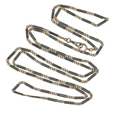 Victorian Long Niello Striped Double Bar Link Chain 56