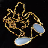 Art Nouveau 10kt Moonstone Lavalier Necklace