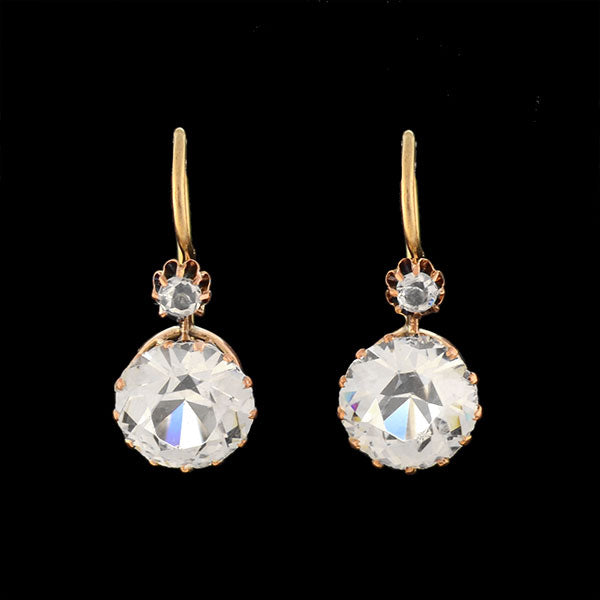 Victorian 14kt Multi-Stone French Paste Earrings