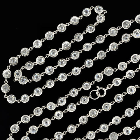 Art Deco Sterling Silver & Faceted Crystal Necklace 36""