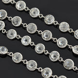 Art Deco Sterling Silver & Faceted Crystal Necklace 36