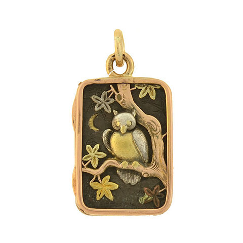 Victorian Japanese Shakudo Mixed Metals Asil Rooster & Owl Locket