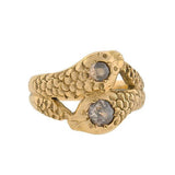 Victorian 14kt Champagne Diamond Double Snake Ring