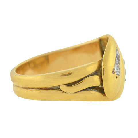 Victorian 18kt Gold Double Snake Ring w/ Diamonds