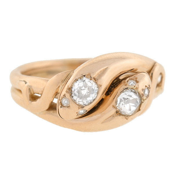 Victorian 15kt Gold Diamond Double Snake Ring