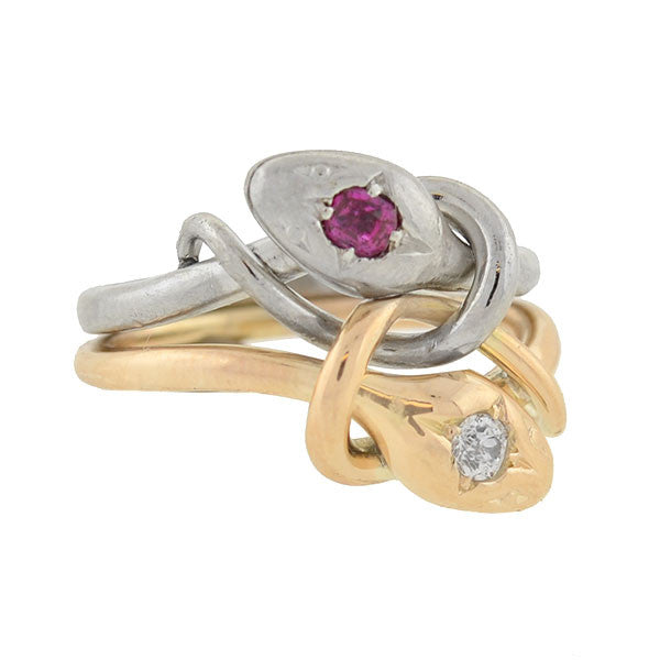 Edwardian Platinum 18kt Diamond & Ruby Double Snake Ring