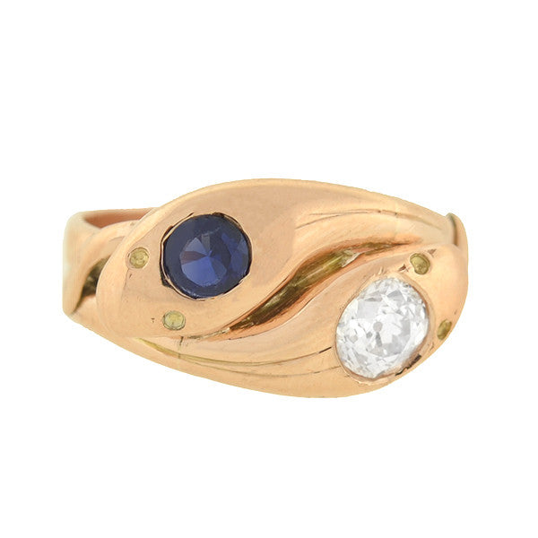 Victorian 14kt Rose Gold Diamond & Sapphire Double Snake Ring