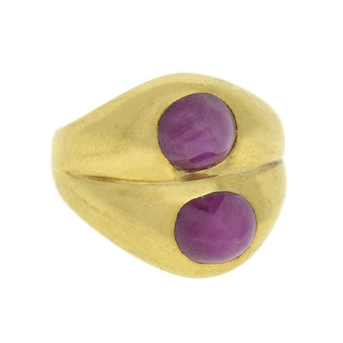 Art Deco 10kt Double Ruby Cabochon Ring