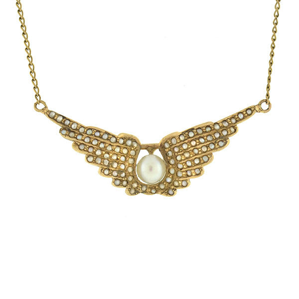 Victorian 14kt Natural Pearl Double Wings Necklace
