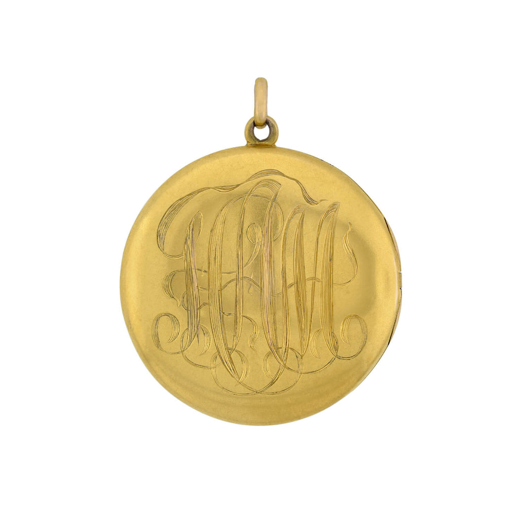 Victorian 14kt Double Sided Locket with Engraved Initials
