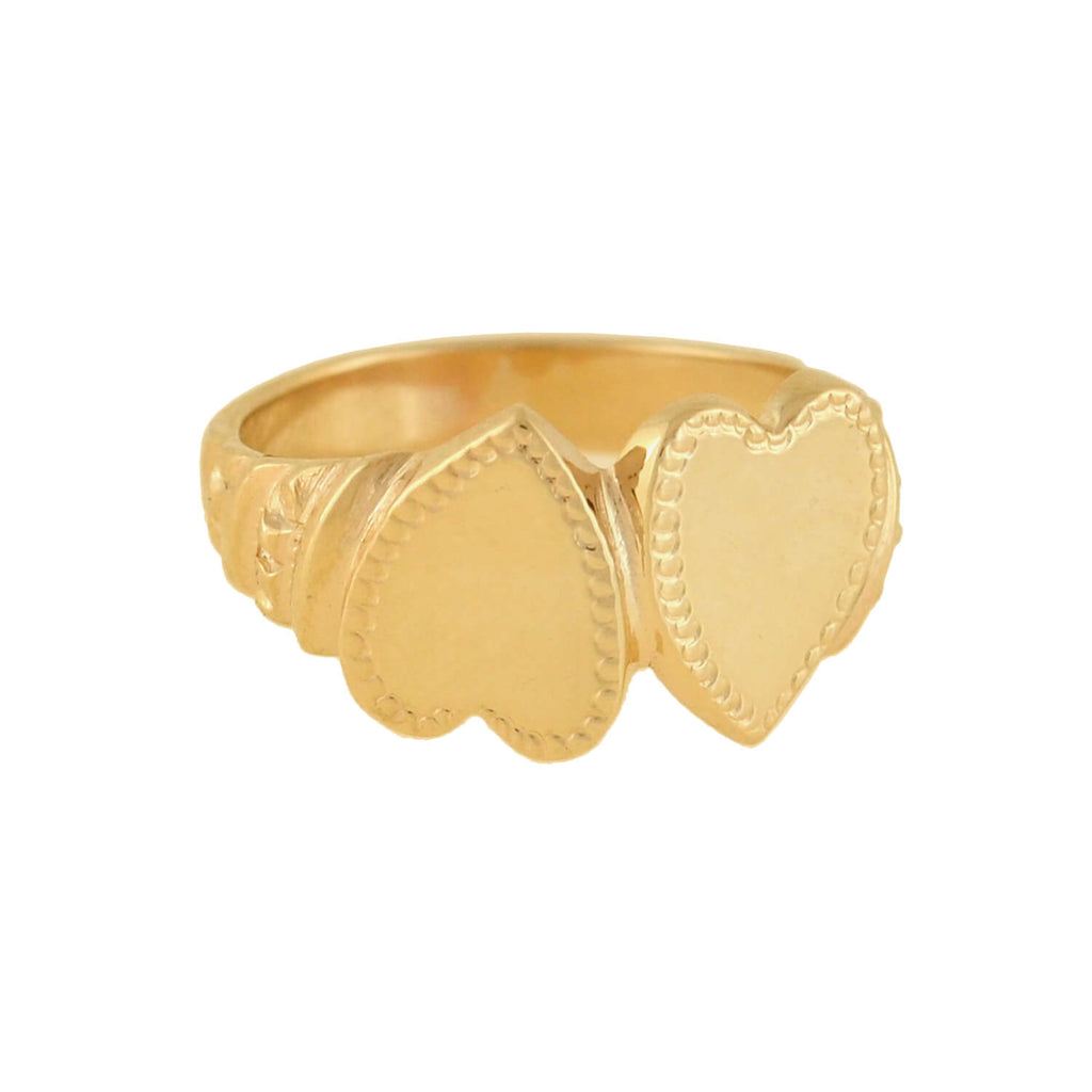 Retro 14kt Gold Double Hearts Ring