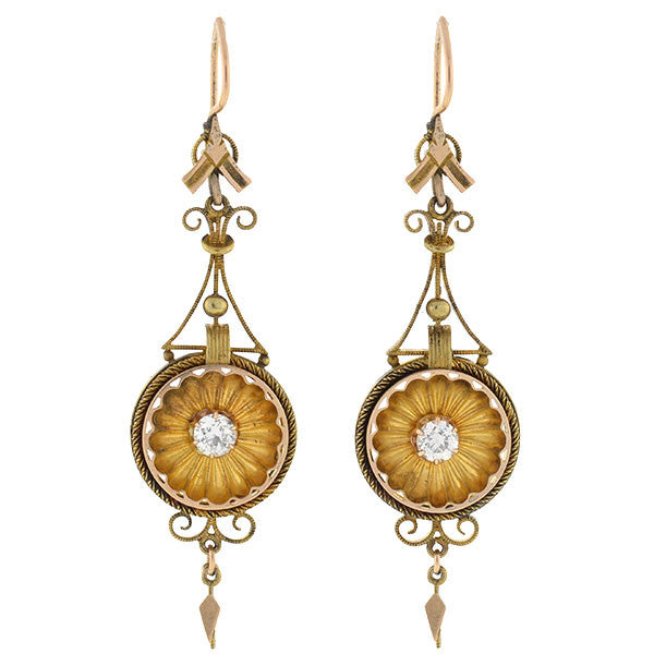 Victorian Dramatic Gold & Diamond Hanging Earrings