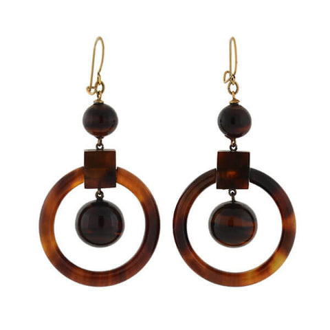 Victorian 14kt Gold Tortoise Shell Hoop Earrings