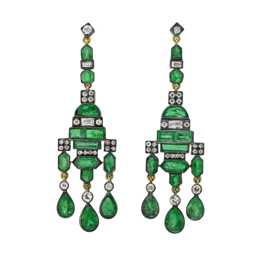 Edwardian 14kt/Sterling Emerald + Diamond Chandelier Earrings