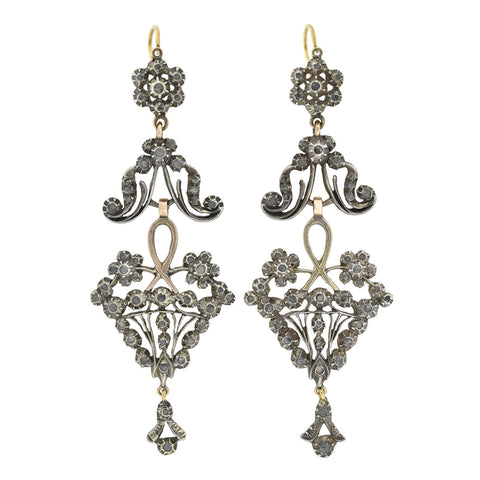 Victorian Dramatic 15kt/Sterling + Rose Cut Diamond Wirework Earrings