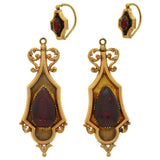 Georgian Dramatic 18kt Day & Night Garnet Earrings