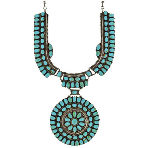 J.W. Vintage Huge Navajo Sterling & Turquoise Sun Wheel Necklace