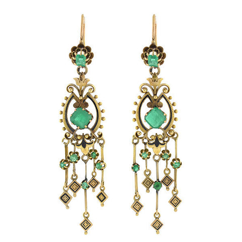 Victorian 18kt Gold Emerald & Enamel Drippy Earrings