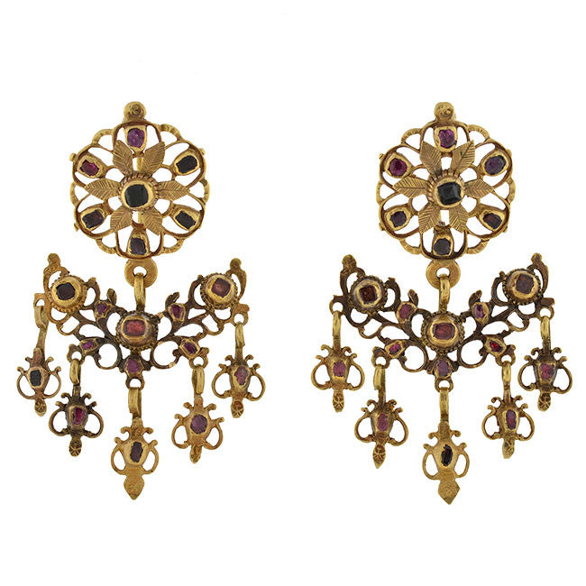 Georgian Huge 18kt & Drippy Garnet & Amethyst Earrings