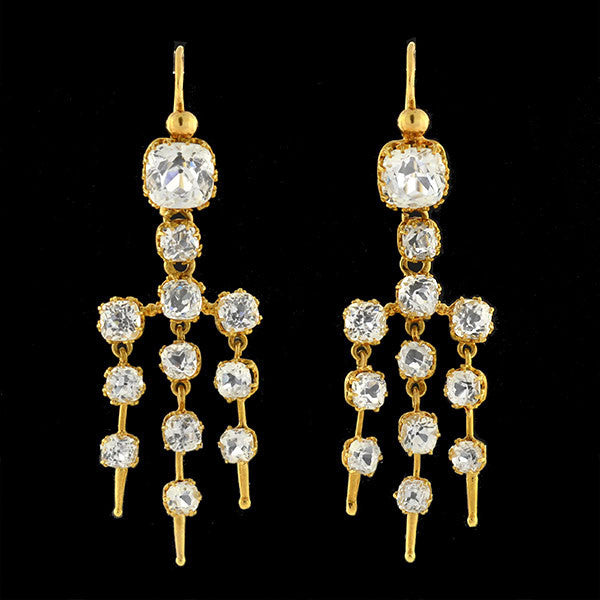 Victorian 18kt Gold Drippy French Paste Earrings