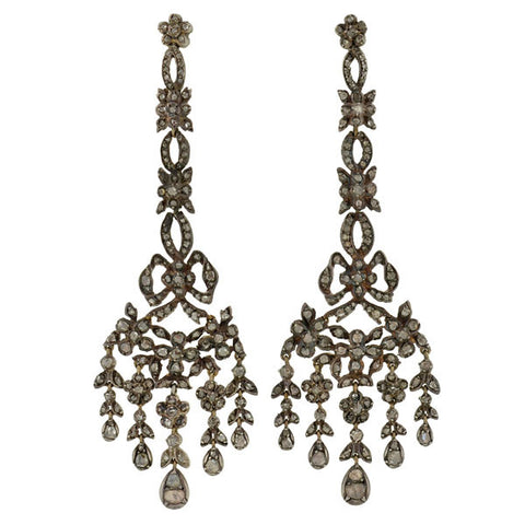 Georgian Silver-Topped Drippy Rose Cut Diamond Earrings