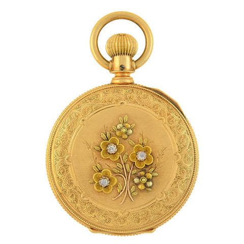 ELGIN Victorian 14kt Mixed Metals + Diamond Flower Pocket Watch