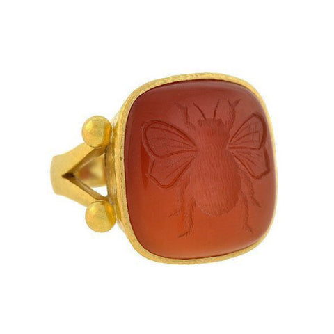 ELIZABETH LOCKE Estate 18kt Carved Carnelian Bee Intaglio Ring