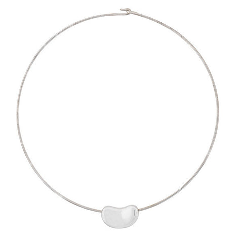 TIFFANY & CO. ELSA PERETTI Estate Sterling Bean Hoop Necklace