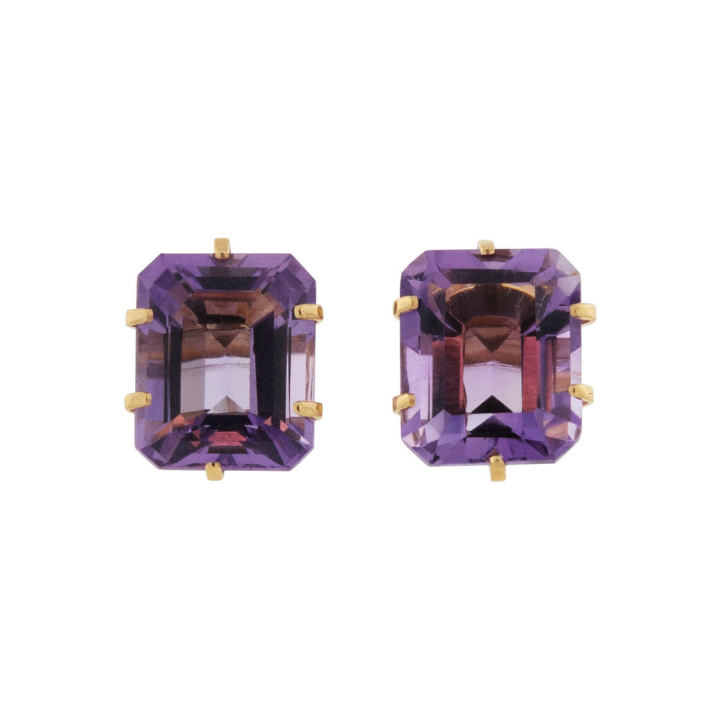 Estate 14kt Emerald Cut Amethyst Stud Earrings