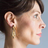 M.C. MOSSALONE Retro 14kt Yellow Gold Dangle Clip-On Earrings 13.2dwt
