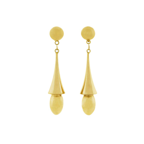 Victorian Revival 14kt Hanging Vessel Earrings