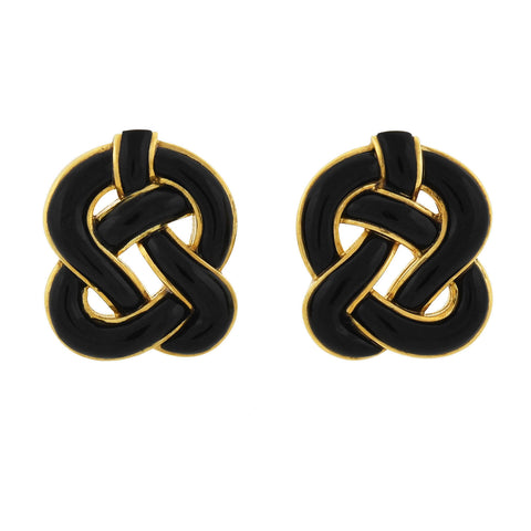 TIFFANY & Co. Vintage 18kt Onyx Knot Clip-On Earrings