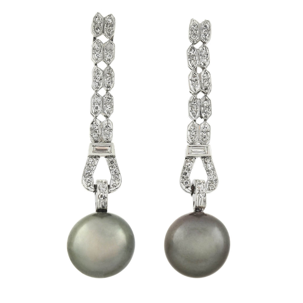 Art Deco Platinum 11mm Black Tahitian Pearl + Diamond Earrings 0.90ctw