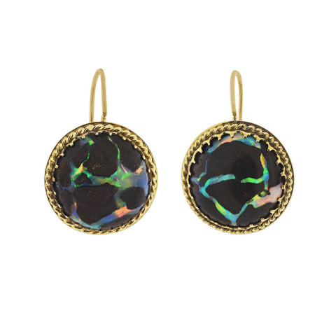 Victorian Revival 14kt Boulder Opal Drop Earrings